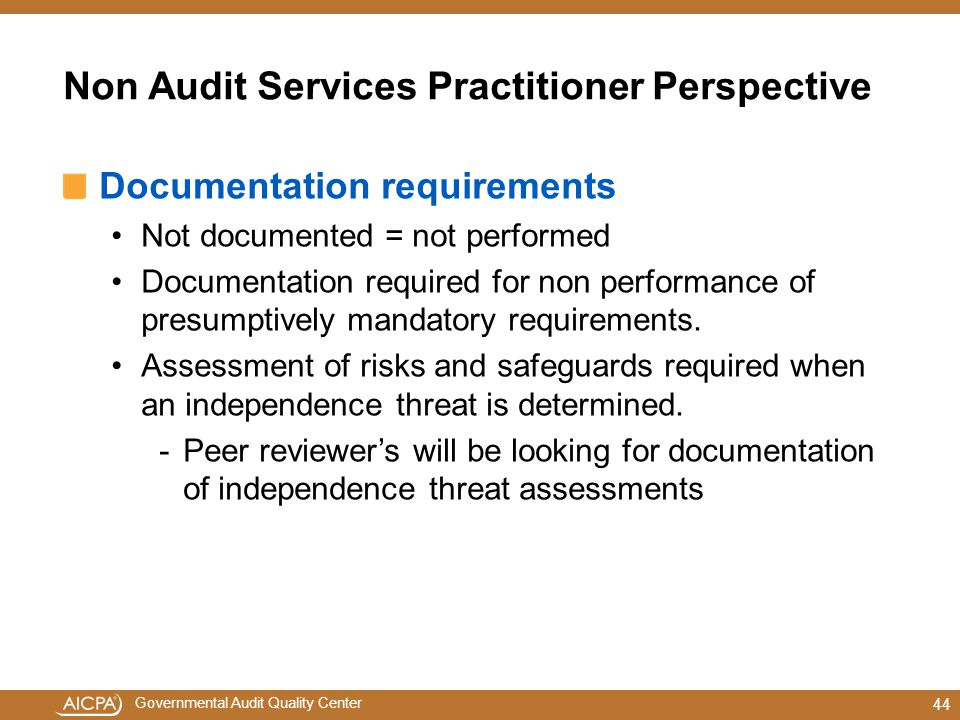 Non Audit Services Practitioner Perspective