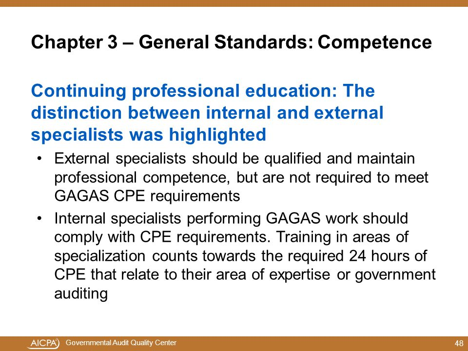 Chapter 3 – General Standards: Competence
