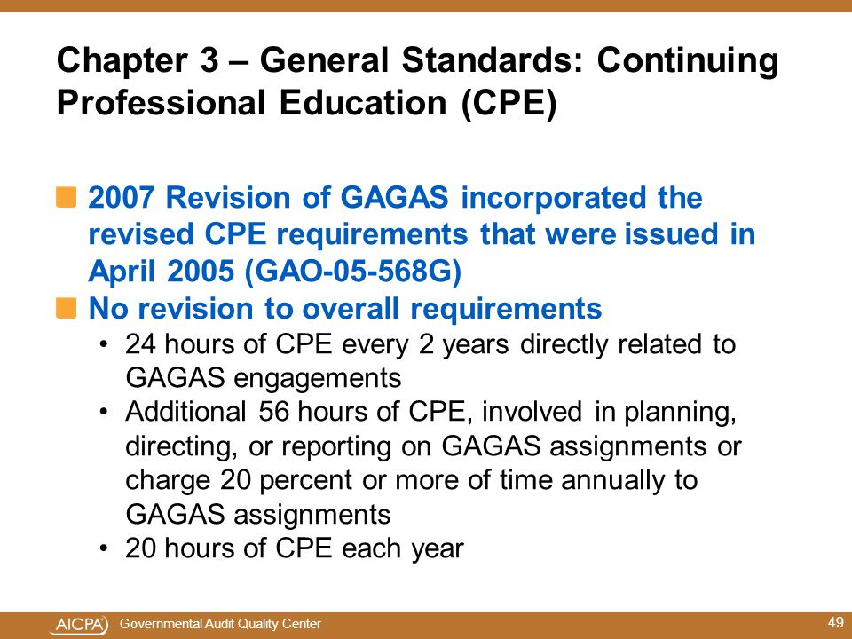 Chapter 3 – General Standards: Continuing Professional Education (CPE)