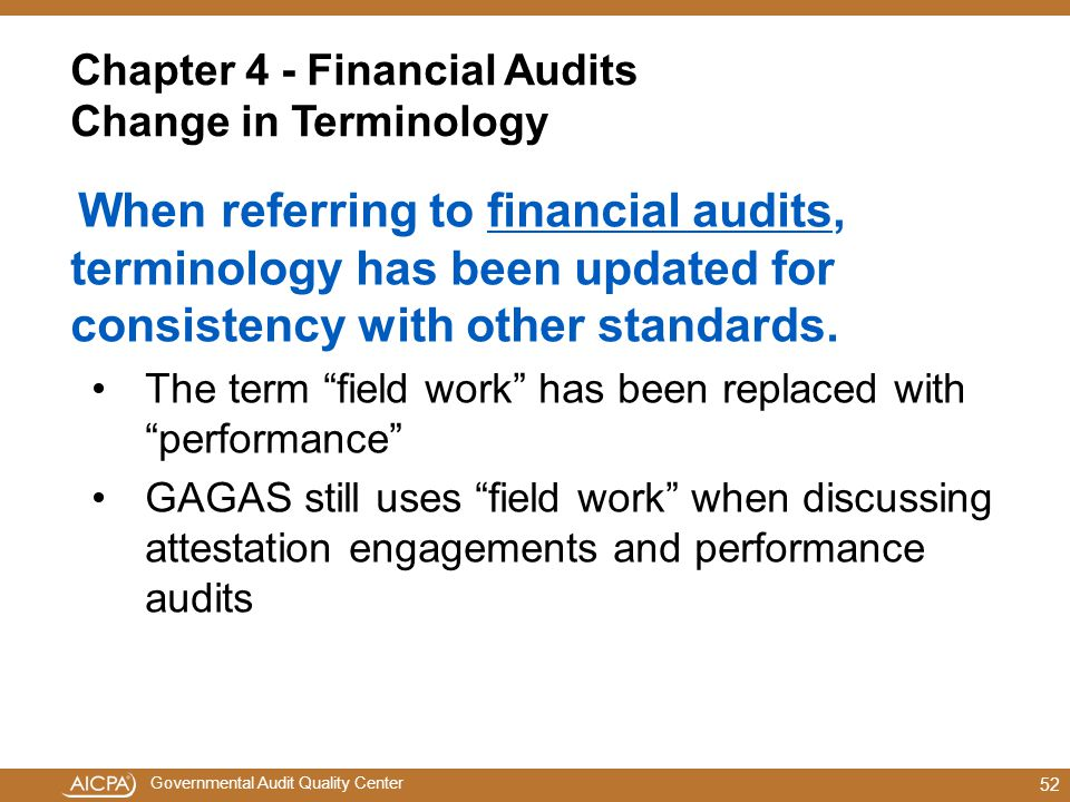 Chapter 4 - Financial Audits Change in Terminology