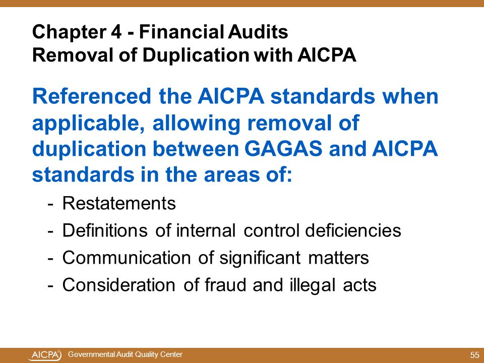 Chapter 4 - Financial Audits Removal of Duplication with AICPA