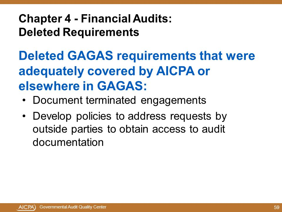 Chapter 4 - Financial Audits: Deleted Requirements