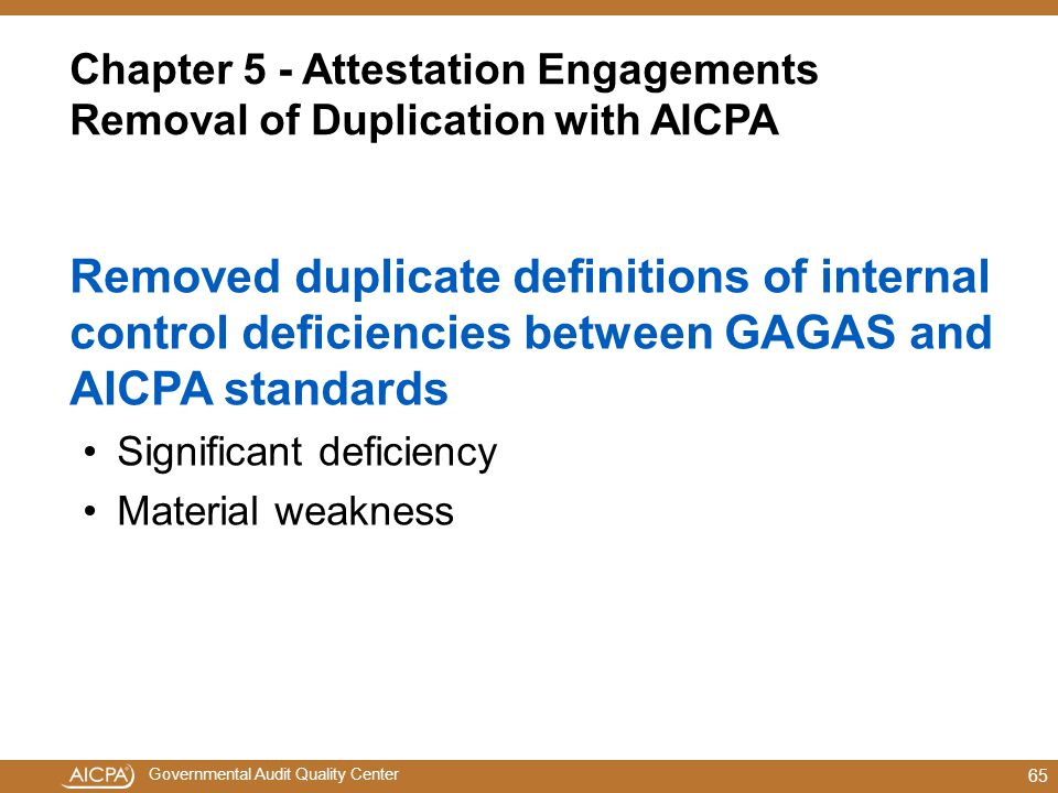 Chapter 5 - Attestation Engagements Removal of Duplication with AICPA
