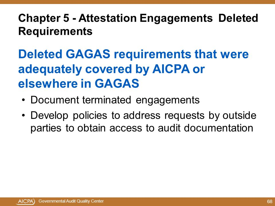 Chapter 5 - Attestation Engagements Deleted Requirements