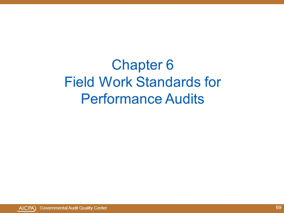 Chapter 6 Field Work Standards for Performance Audits
