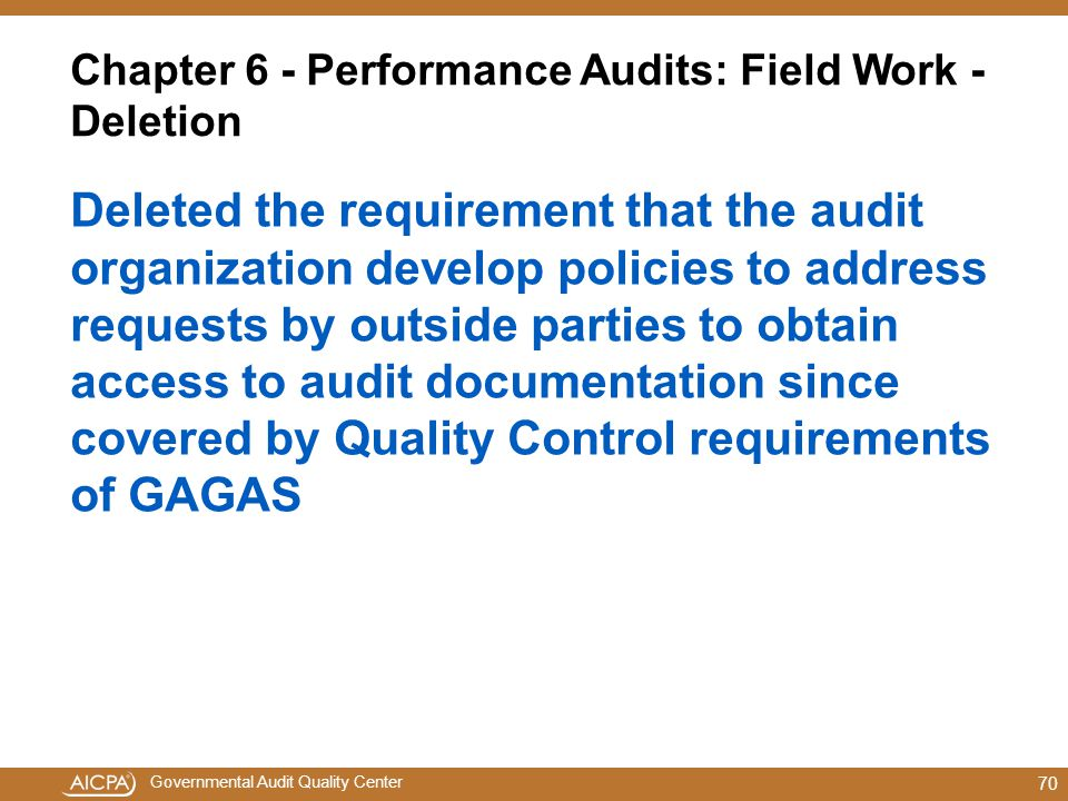 Chapter 6 - Performance Audits: Field Work - Deletion