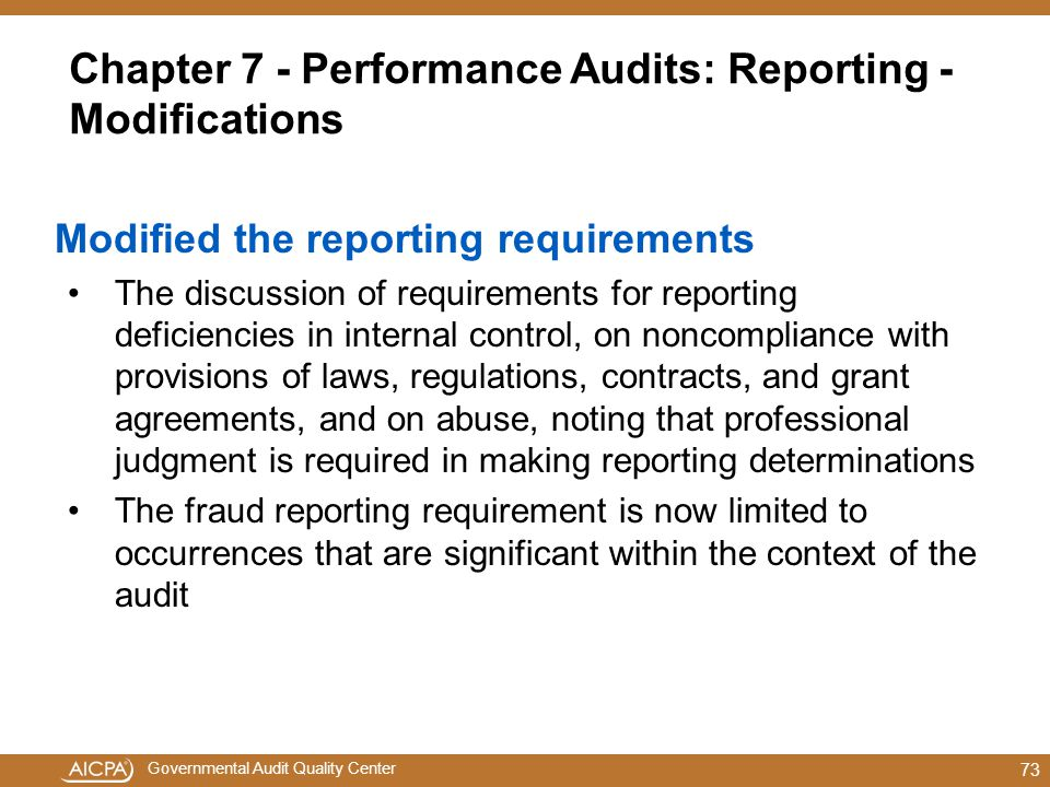 Chapter 7 - Performance Audits: Reporting - Modifications