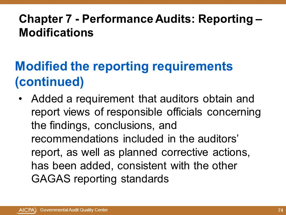 Chapter 7 - Performance Audits: Reporting – Modifications