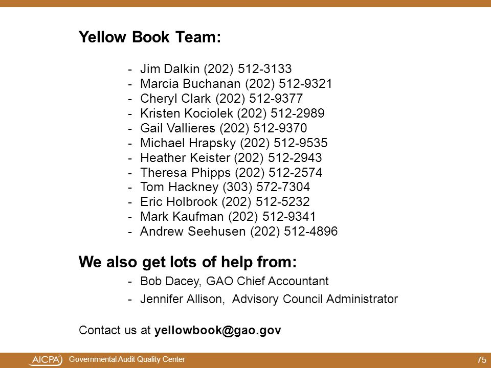 We also get lots of help from:
