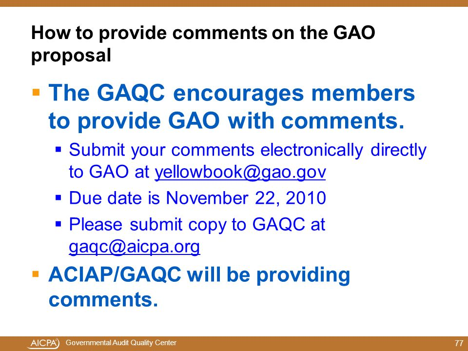 How to provide comments on the GAO proposal