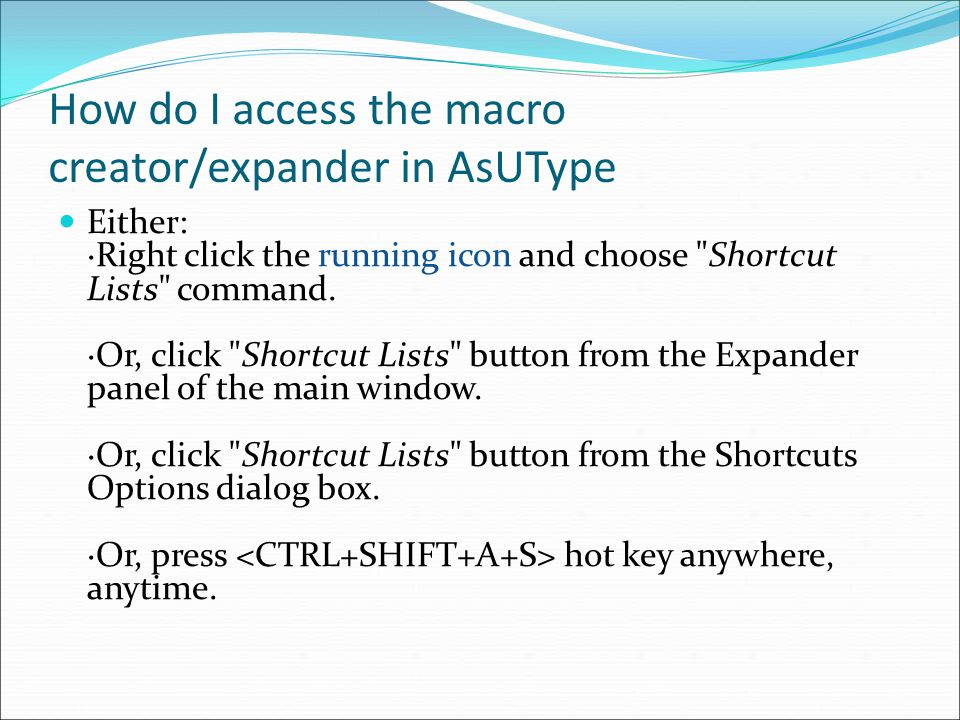 How do I access the macro creator/expander in AsUType