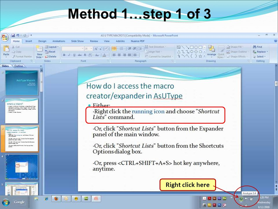 Method 1…step 1 of 3 Right click here