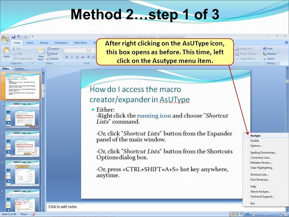 Method 2…step 1 of 3 After right clicking on the AsUType icon, this box opens as before.