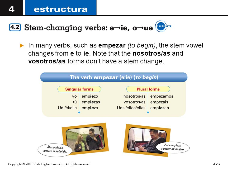 In many verbs, such as empezar (to begin), the stem vowel changes from e to ie. Note that the nosotros/as and vosotros/as forms don't have a stem change.