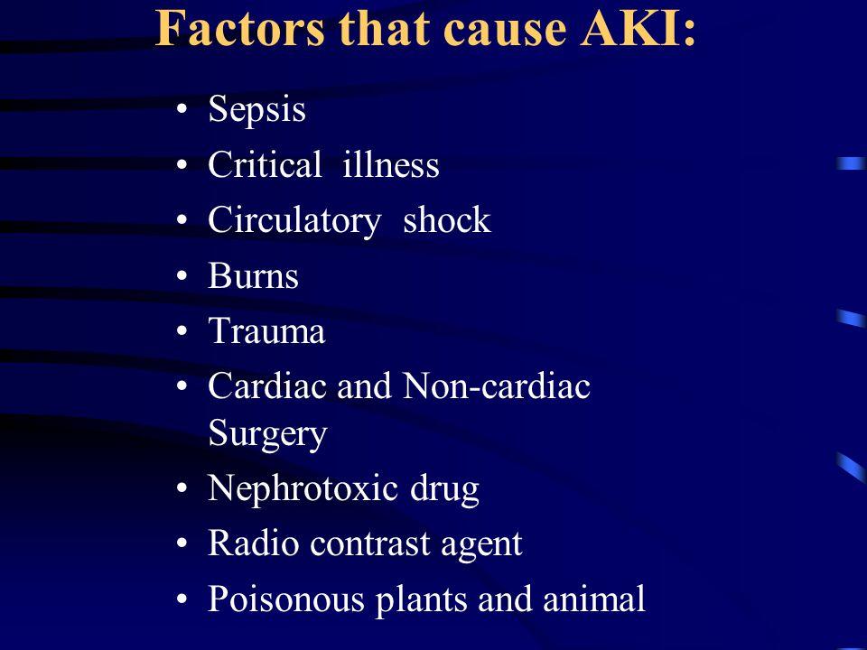 Factors that cause AKI:
