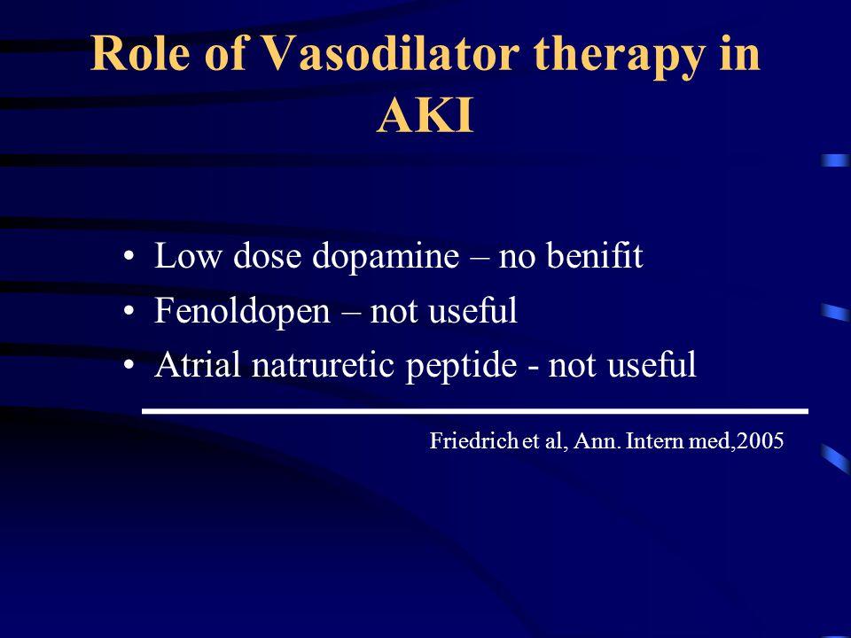 Role of Vasodilator therapy in AKI