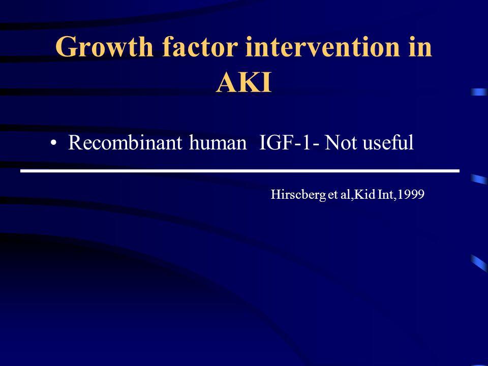Growth factor intervention in AKI