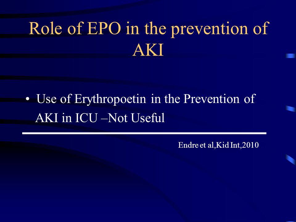 Role of EPO in the prevention of AKI