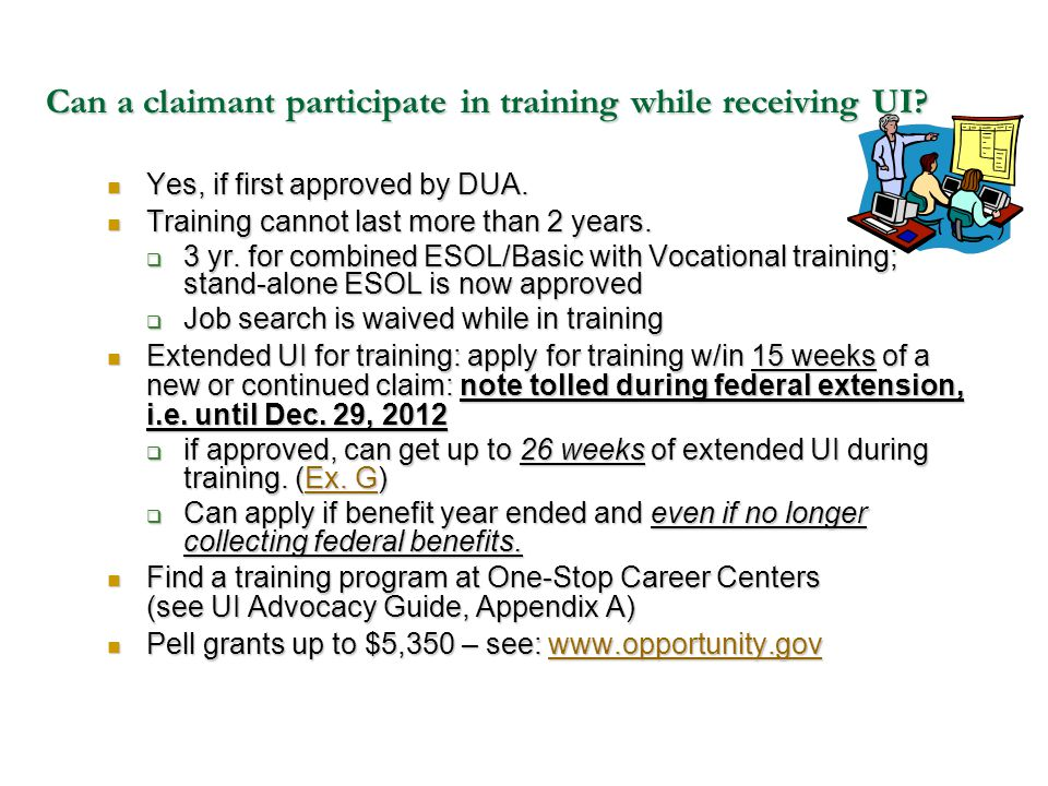 Can a claimant participate in training while receiving UI