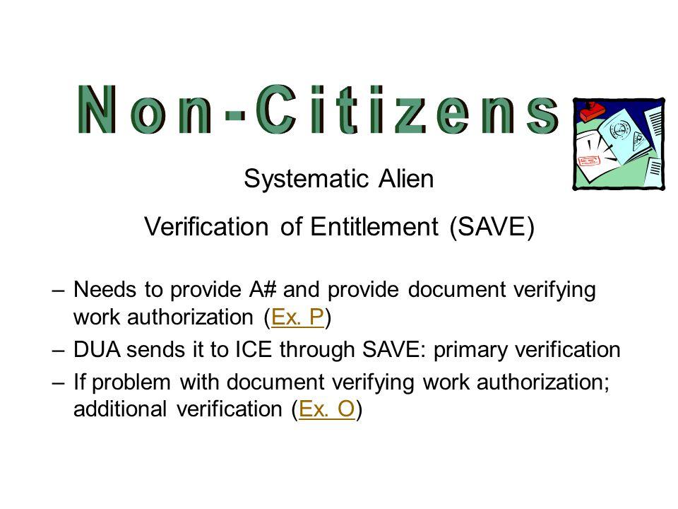 Verification of Entitlement (SAVE)
