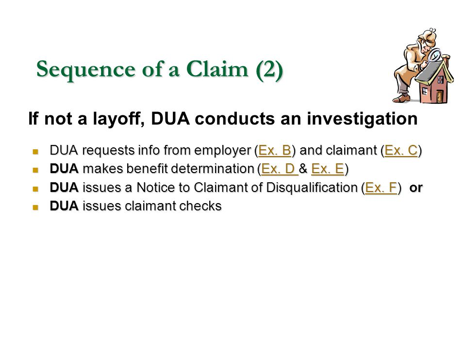 Sequence of a Claim (2) If not a layoff, DUA conducts an investigation