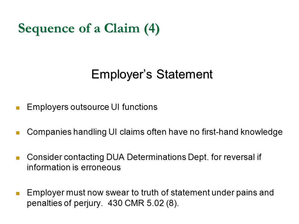Sequence of a Claim (4) Employer's Statement