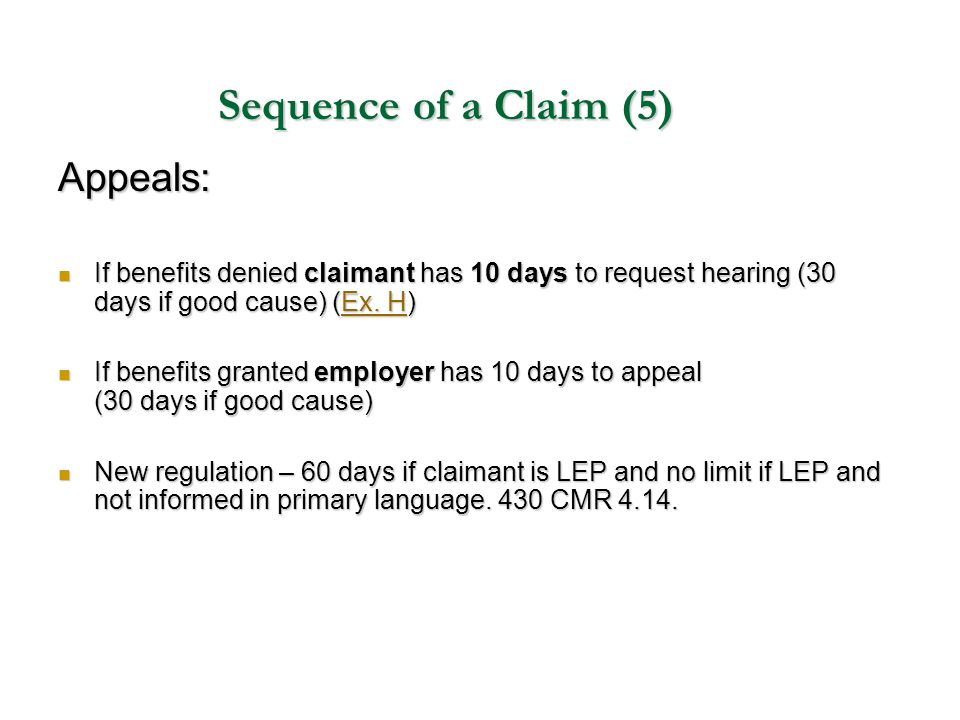 Sequence of a Claim (5) Appeals: