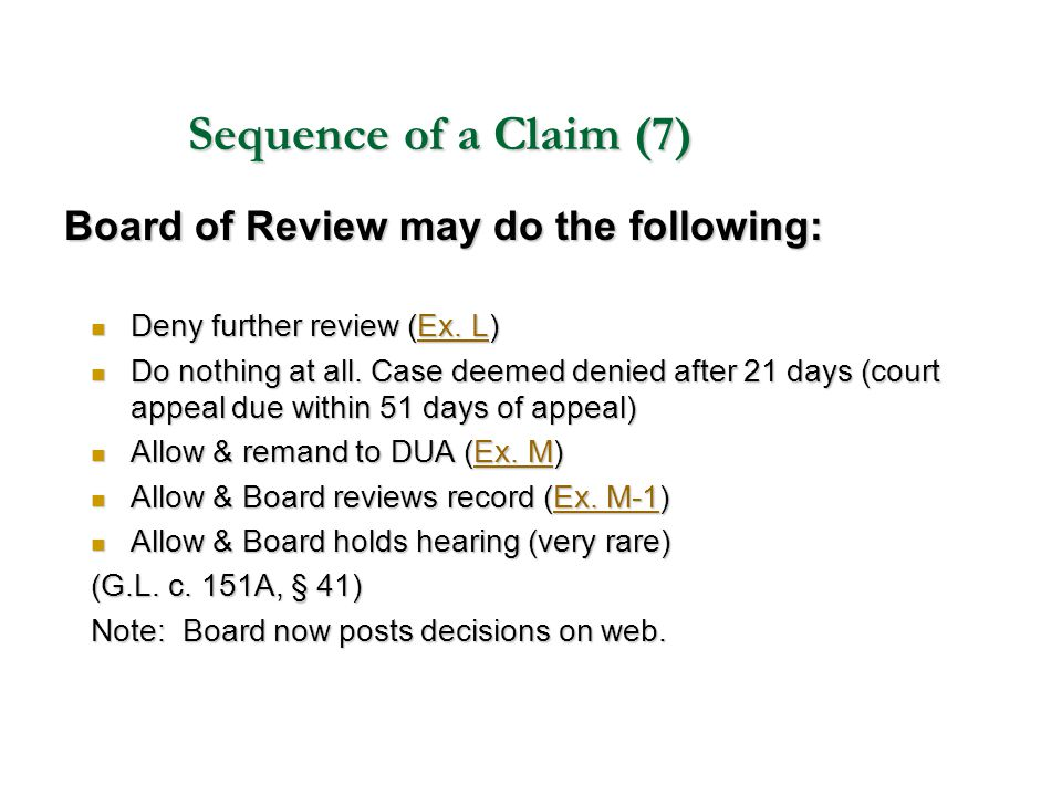 Sequence of a Claim (7) Board of Review may do the following: