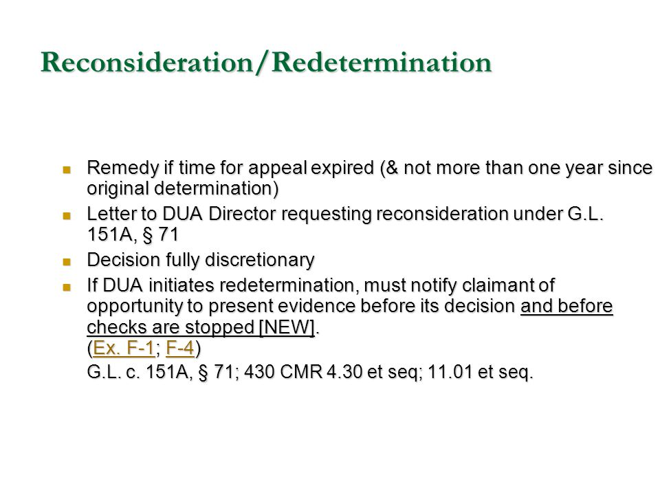 Reconsideration/Redetermination