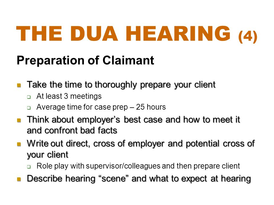 The DUA Hearing (4) Preparation of Claimant