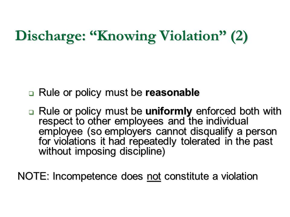 Discharge: Knowing Violation (2)