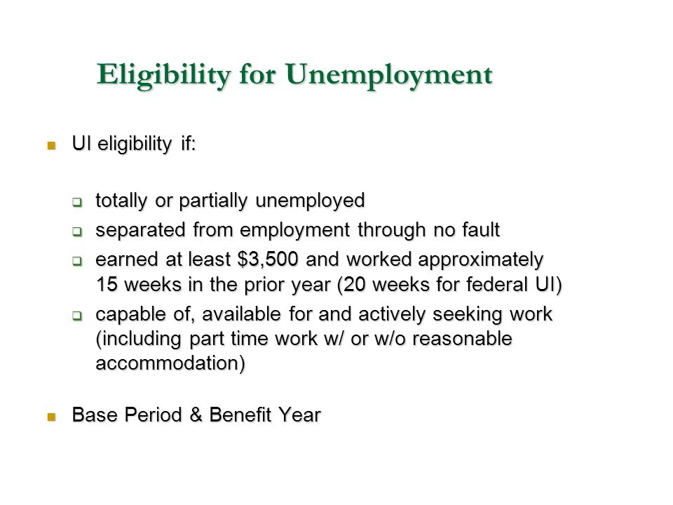 Eligibility for Unemployment