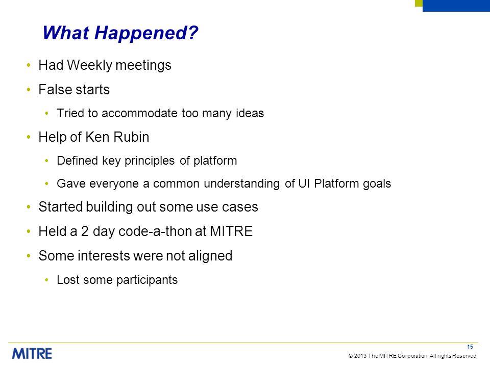 What Happened Had Weekly meetings False starts Help of Ken Rubin