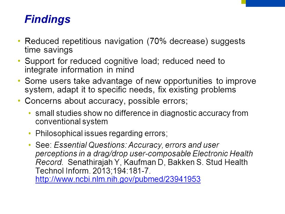 Findings Reduced repetitious navigation (70% decrease) suggests time savings.