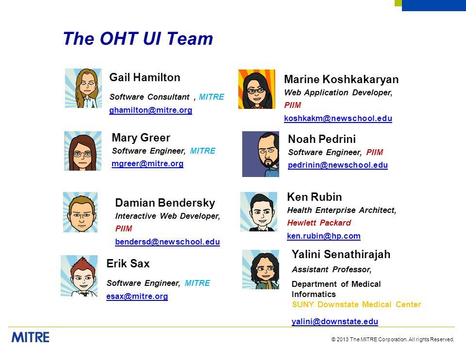 The OHT UI Team Gail Hamilton