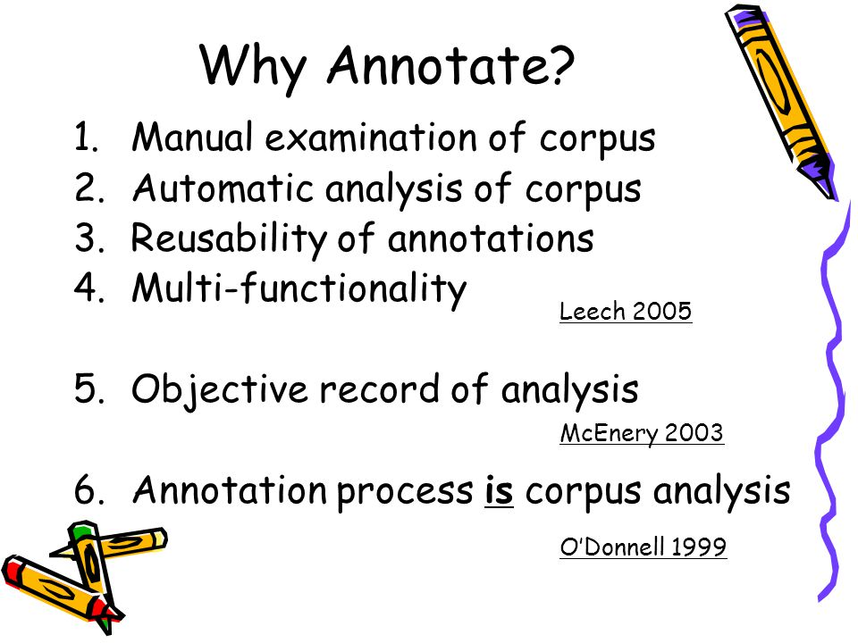 Why Annotate Manual examination of corpus