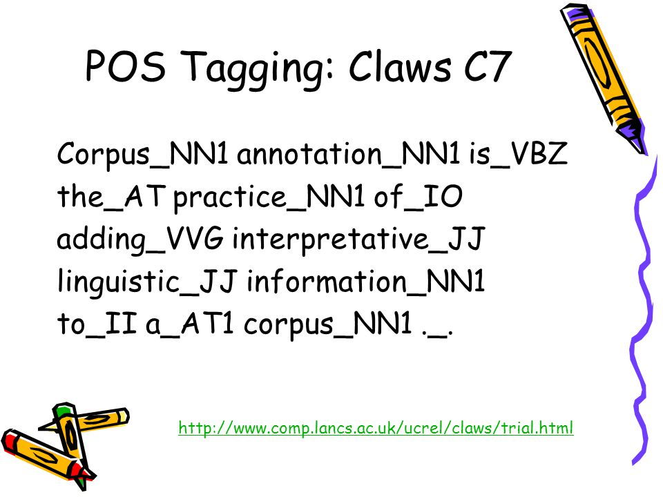 POS Tagging: Claws C7 Corpus_NN1 annotation_NN1 is_VBZ