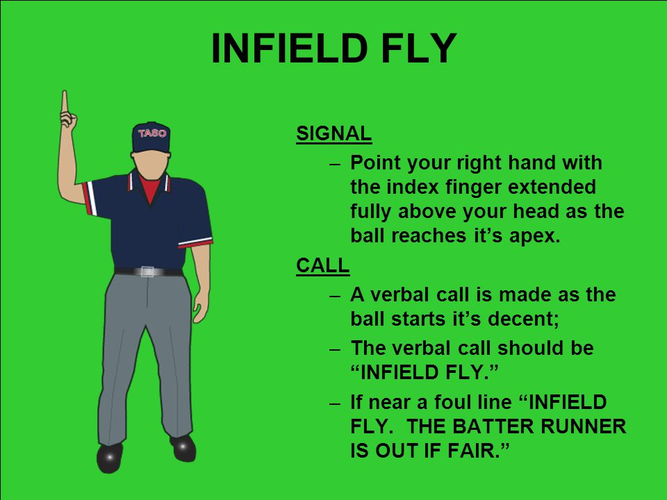 INFIELD FLY SIGNAL. Point your right hand with the index finger extended fully above your head as the ball reaches it's apex.