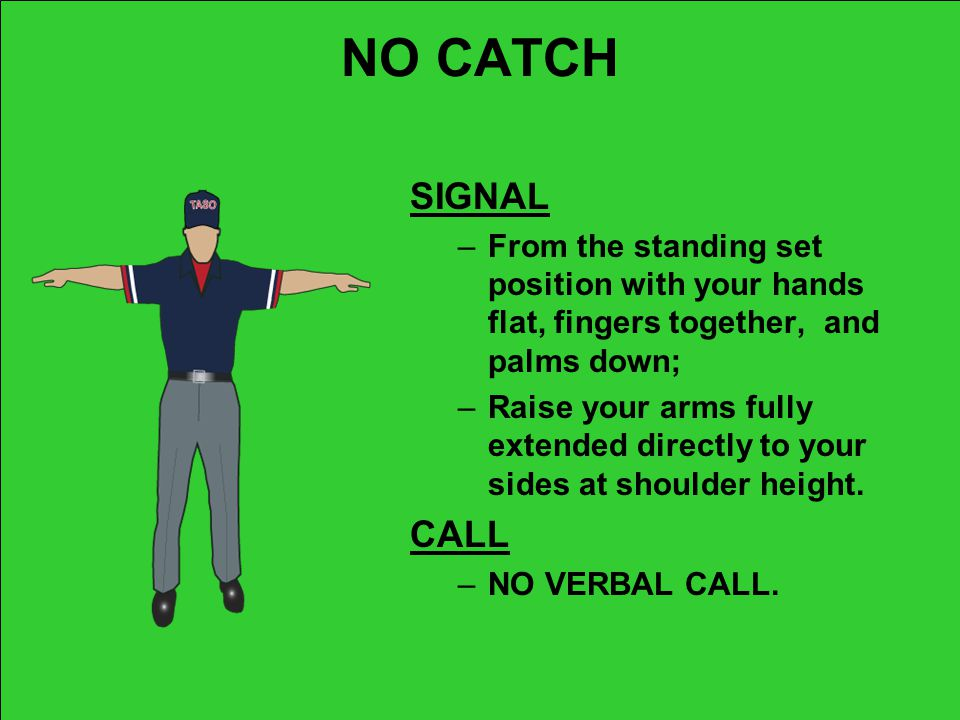 NO CATCH SIGNAL. From the standing set position with your hands flat, fingers together, and palms down;