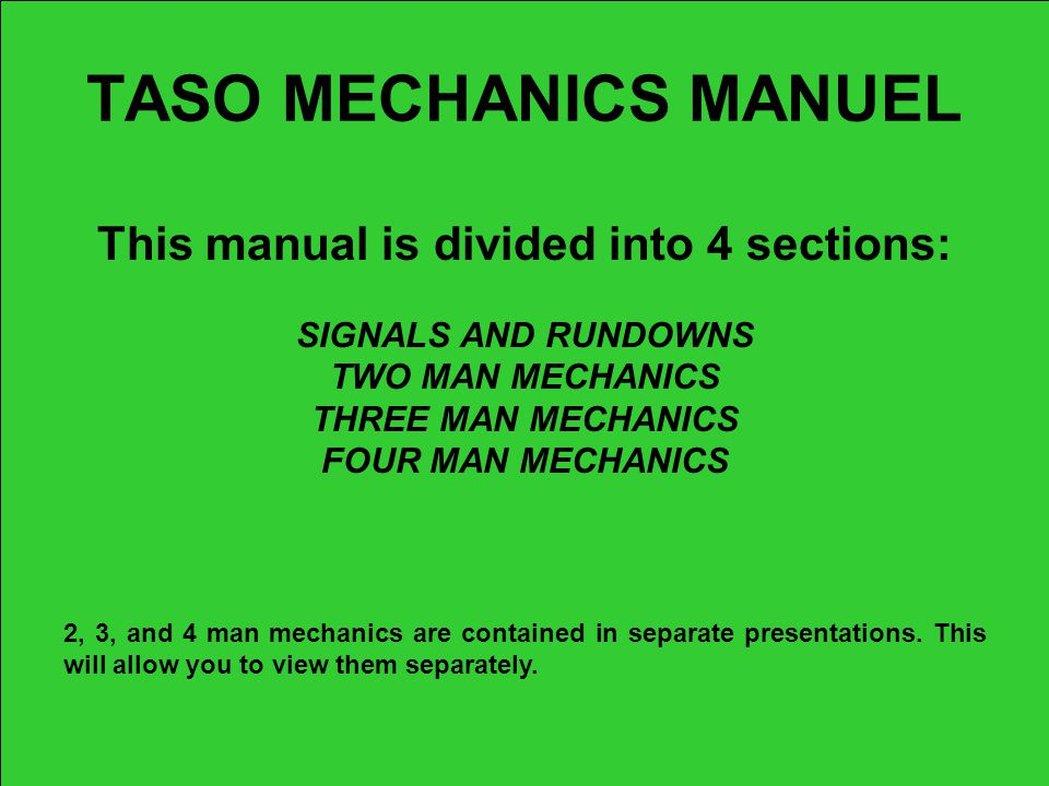 This manual is divided into 4 sections:
