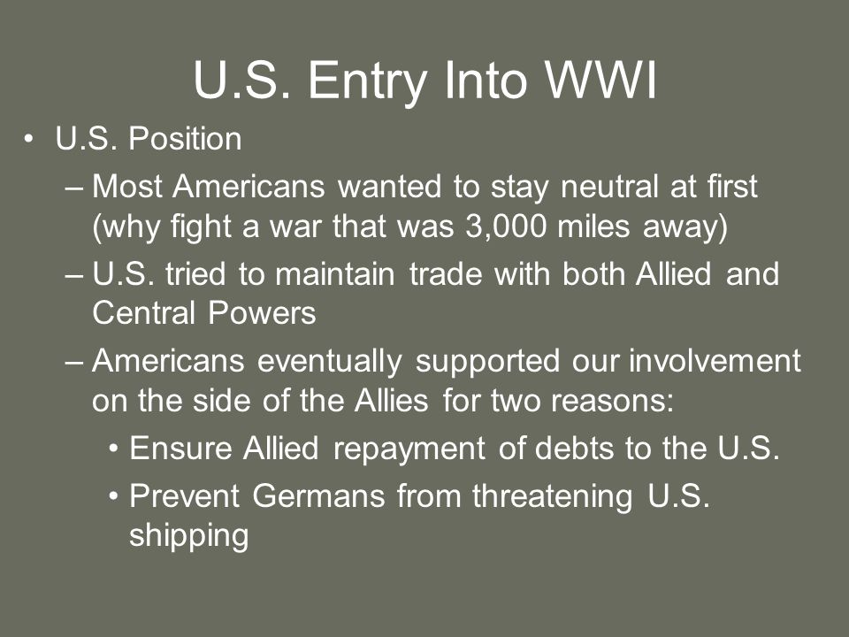 U.S. Entry Into WWI U.S. Position