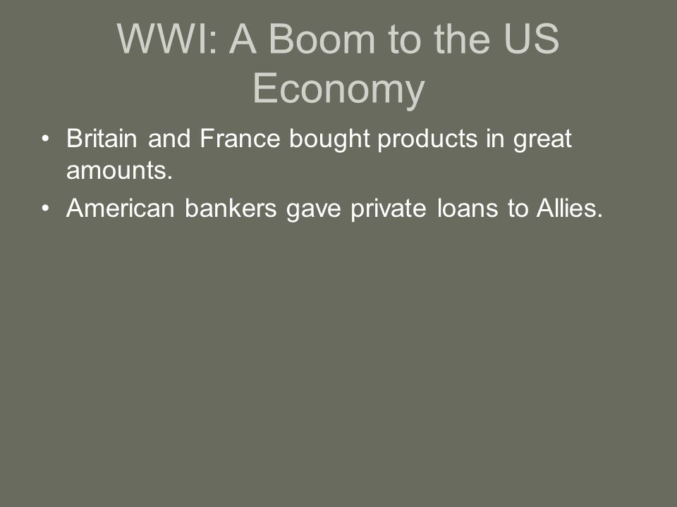 WWI: A Boom to the US Economy