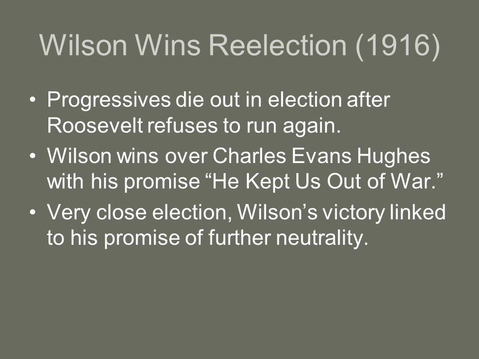 Wilson Wins Reelection (1916)