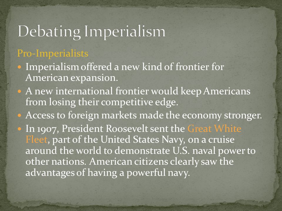 Debating Imperialism Pro-Imperialists