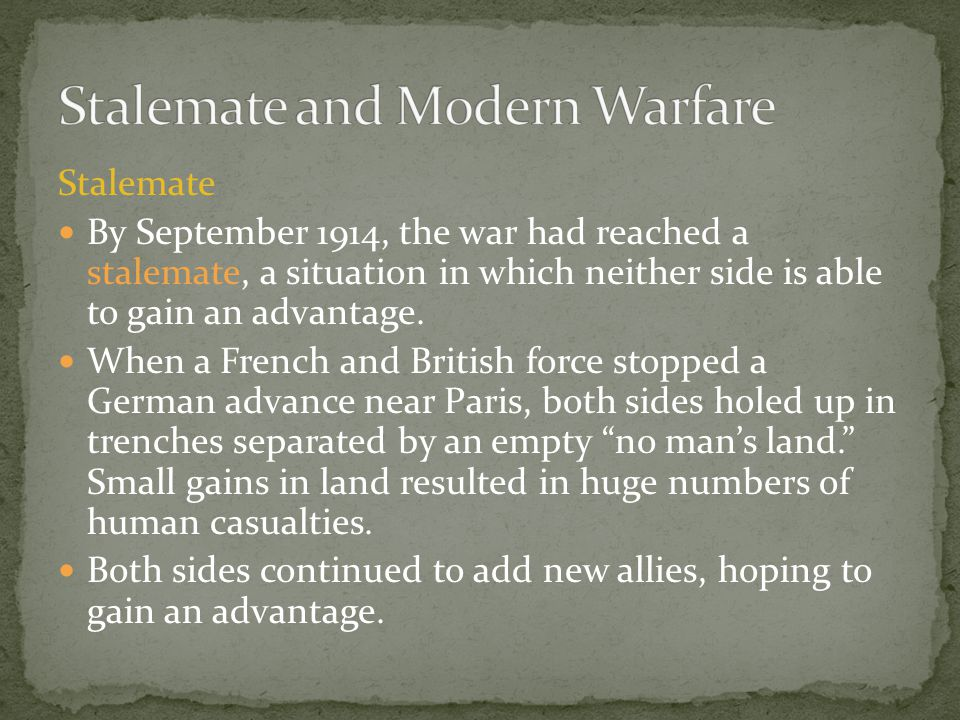 Stalemate and Modern Warfare