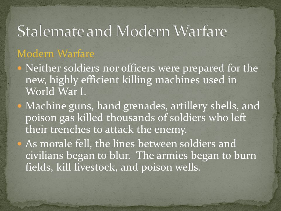 Stalemate and Modern Warfare