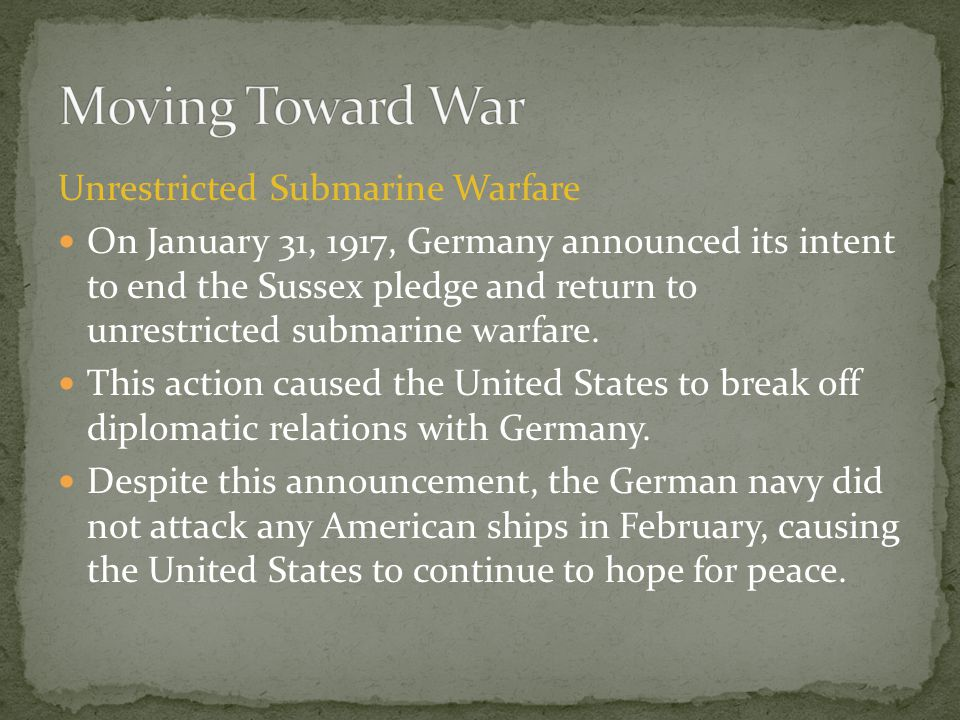 Moving Toward War Unrestricted Submarine Warfare