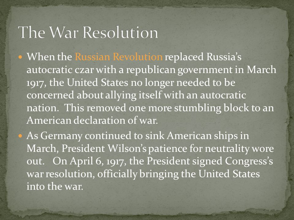 The War Resolution