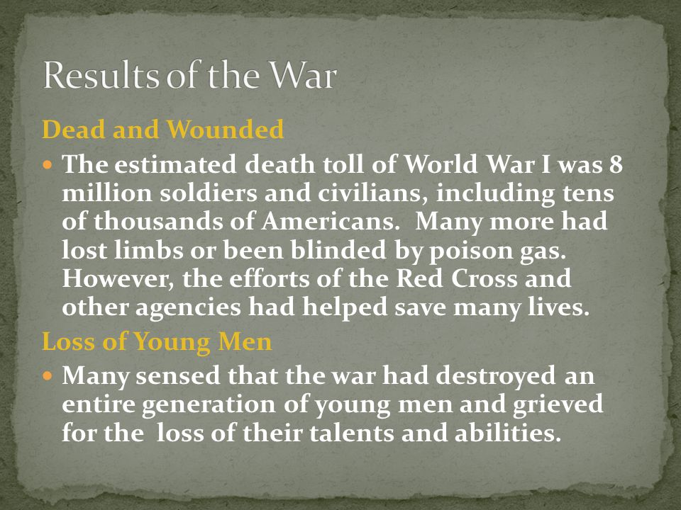 Results of the War Dead and Wounded