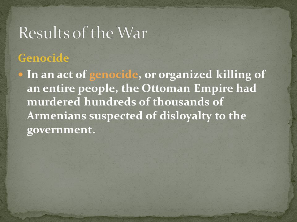 Results of the War Genocide